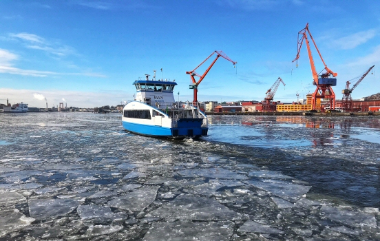 Gothenburg ferry with ice
