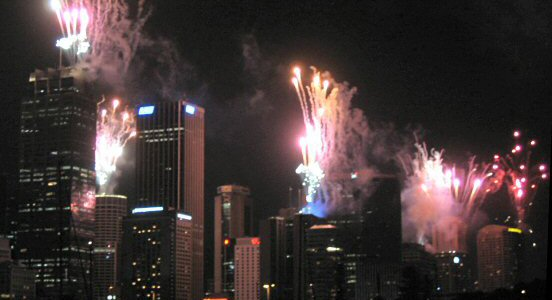 Fireworks in downtown Sydney